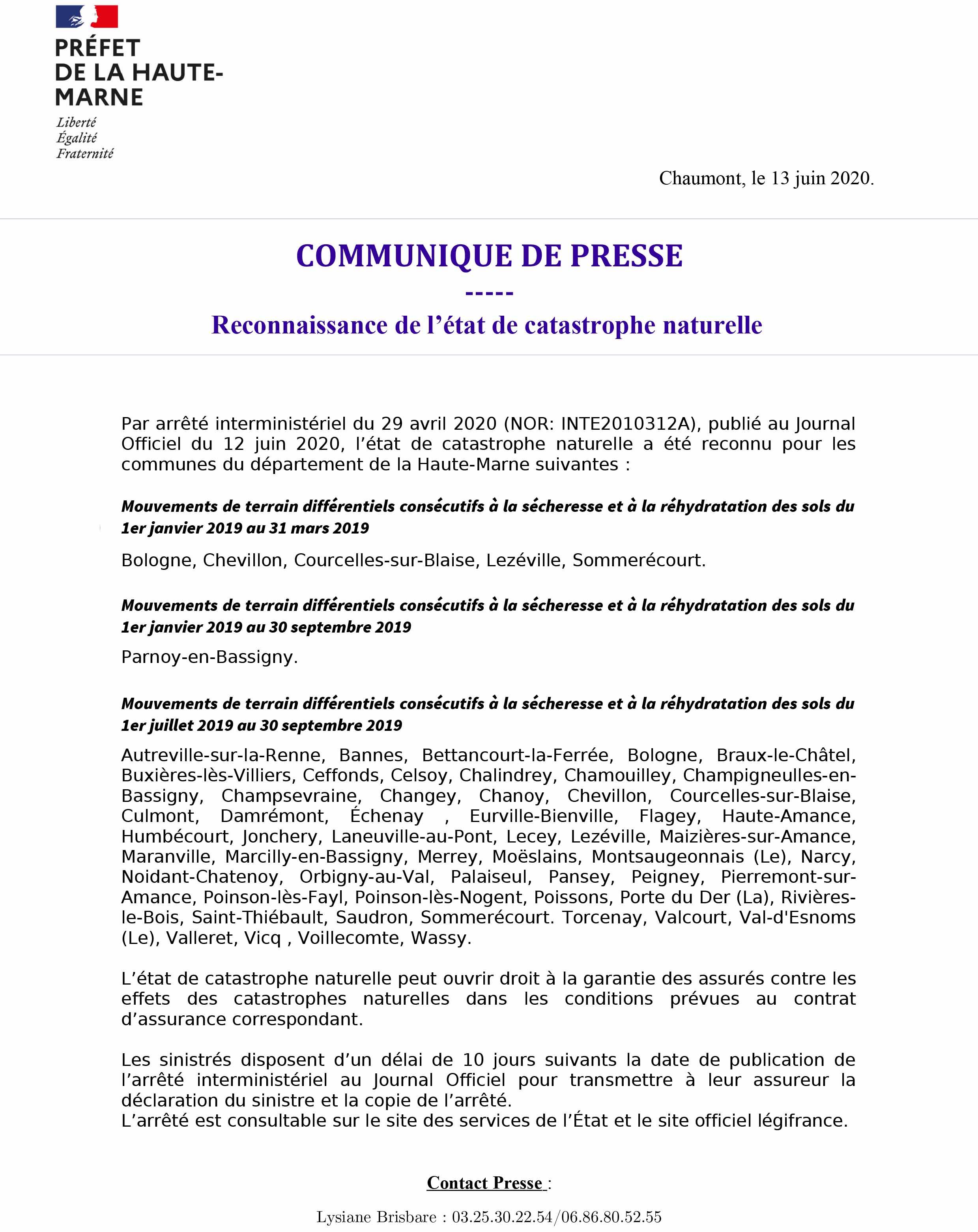 RECONNAISSANCE DE L'ÉTAT CATASTROPHE NATURELLE